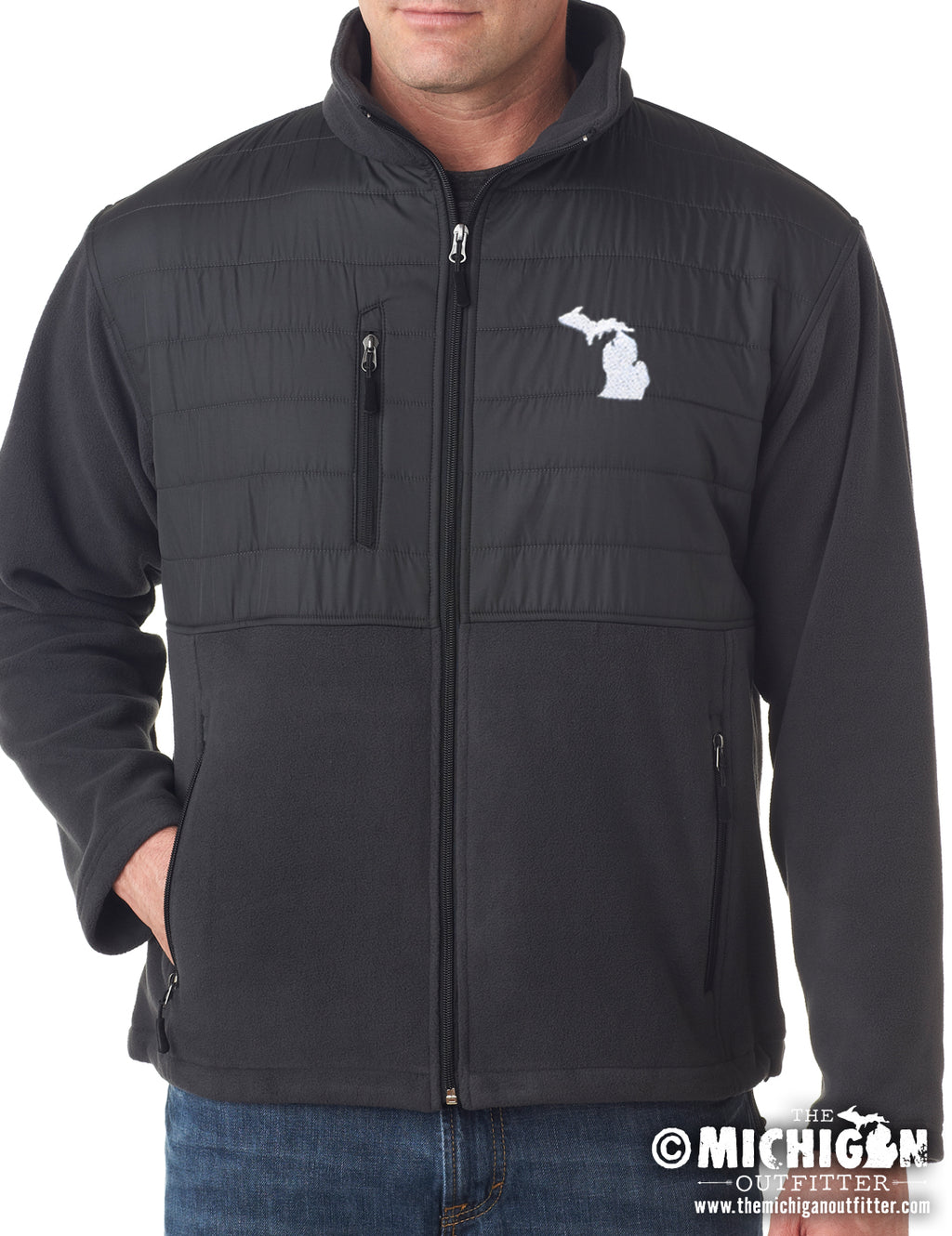 Men's Fleece Jacket - Charcoal Black