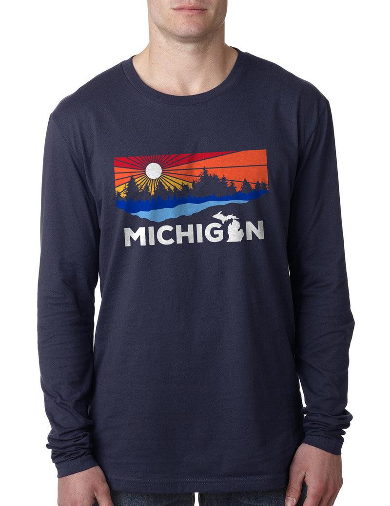 Michigan Lake - Unisex Long Sleeve - Navy
