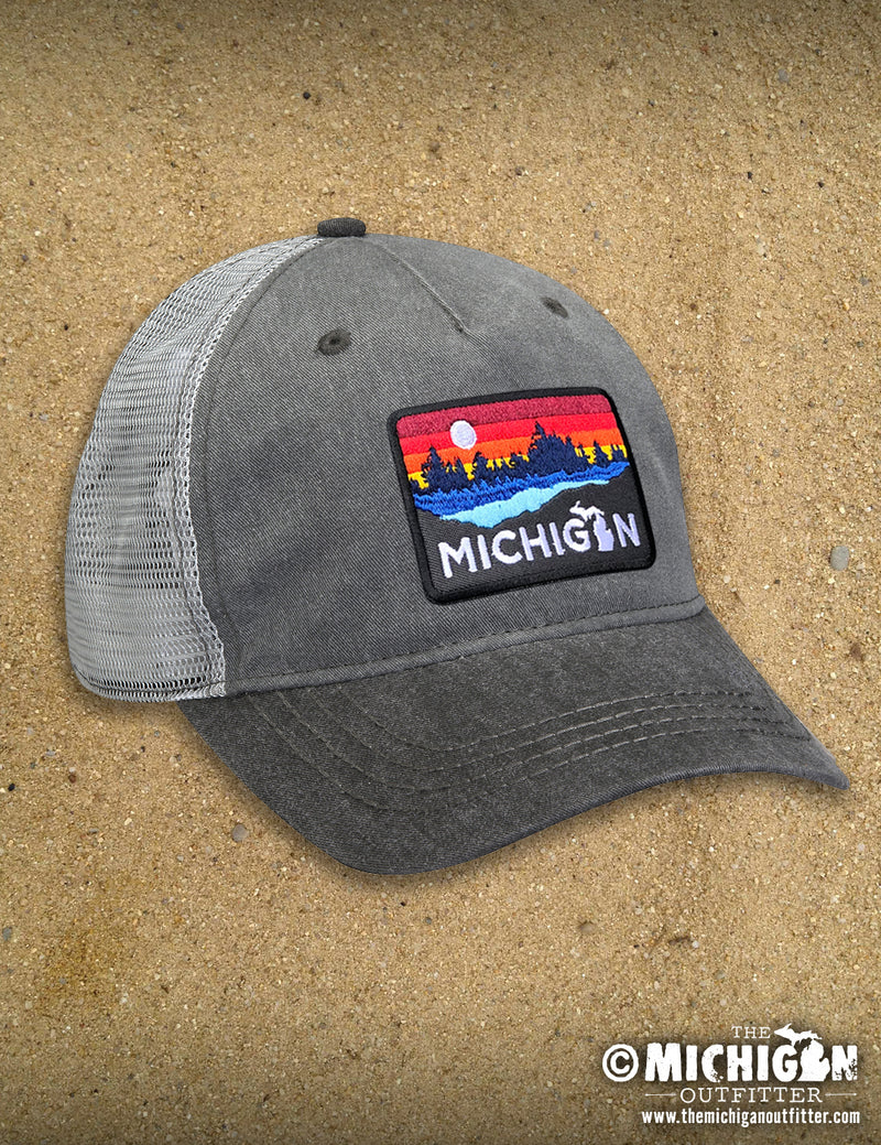 Michigan Lake Weathered Trucker Cap - Charcoal