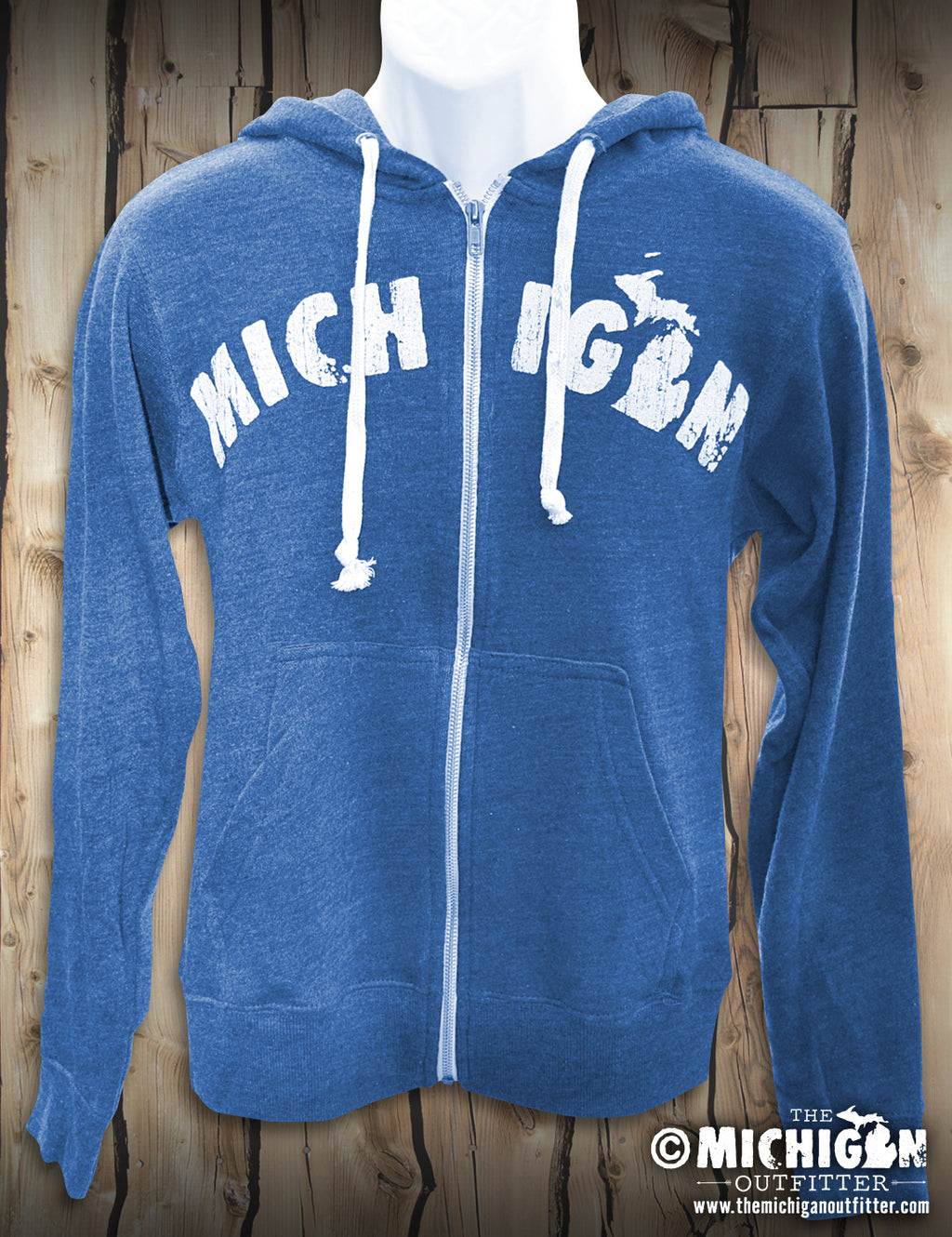Michigan - Unisex Zip-Up Hoodie - Heather Royal - XL ONLY