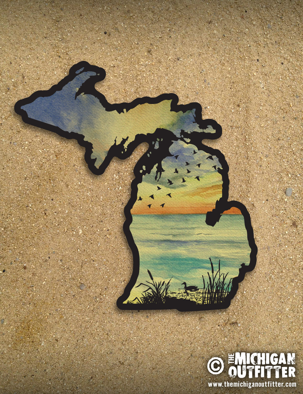 "4"" Michigan Sticker - Sunset Birds"