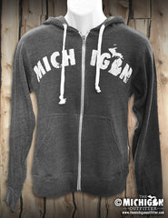 Michigan - Unisex Zip-Up Hoodie - Heather Charcoal
