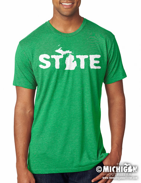 State - Mens T-Shirt - Heather Green