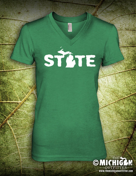 State - Women's V-Neck T-Shirt - Heather Green
