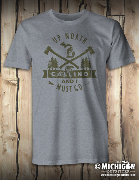 Up North Is Calling - Mens T-Shirt - Heather Storm