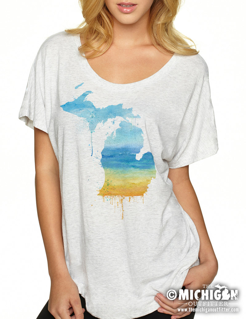 Michigan Watercolor Beach - Women's Dolman T-Shirt - Heather White