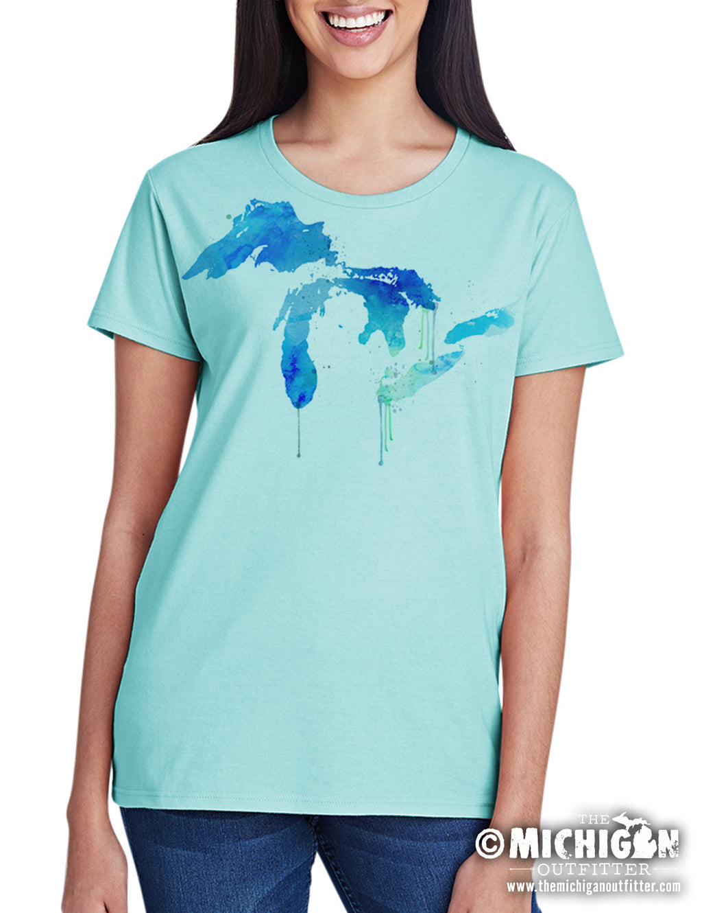 Michigan Watercolor Lakes - Women's T-Shirt - Teal Ice