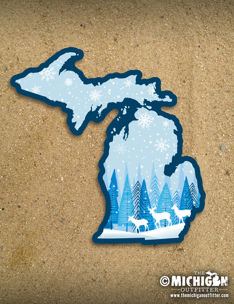 "4"" Michigan Sticker - Winter Deer"