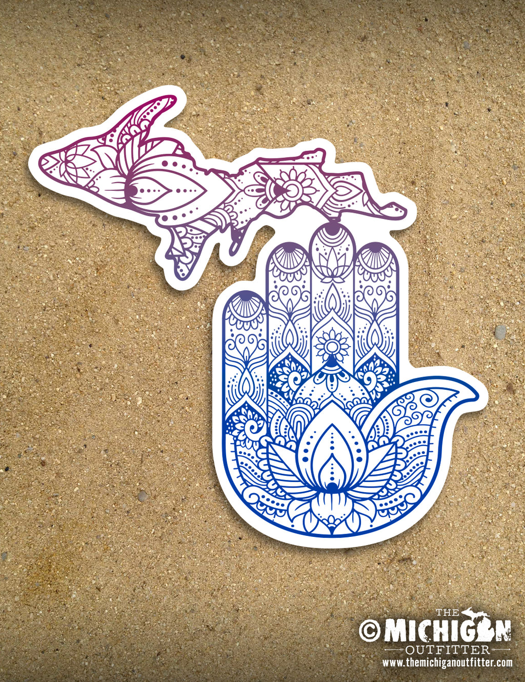 "4"" Michigan Sticker - Yoga Hand"