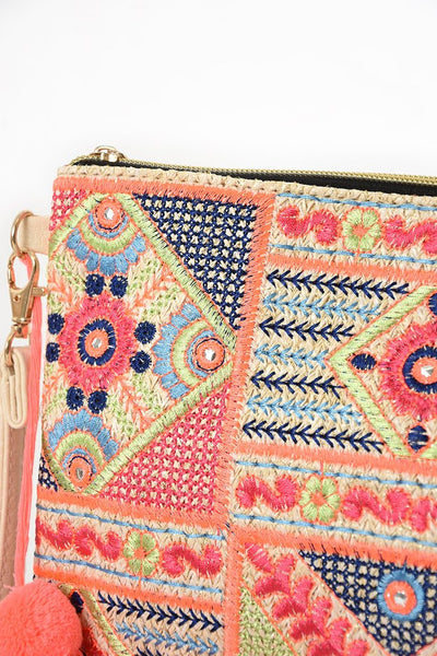 White neon grid embroidery sparkly straw clutch bag