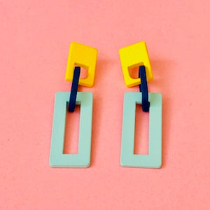Rectangle Rubber Coated Metal Earrings