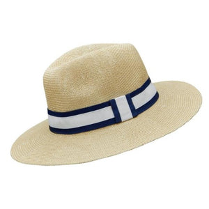 Blue & White stripe Natural Foldable Straw Hat