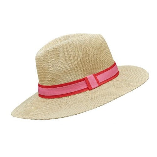 Hot pink & Pale pink Stripe Foldable Panama Hat