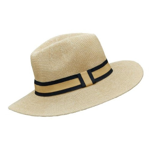 Black & Gold Stripe Foldable Panama Hat