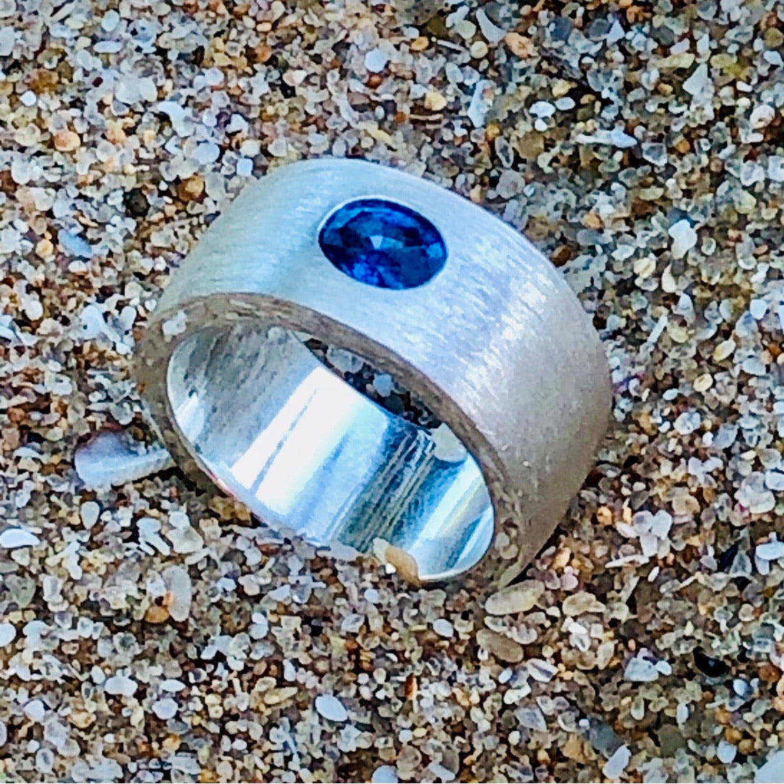 Sapphire and Sandblasted Sterling Silver Ring