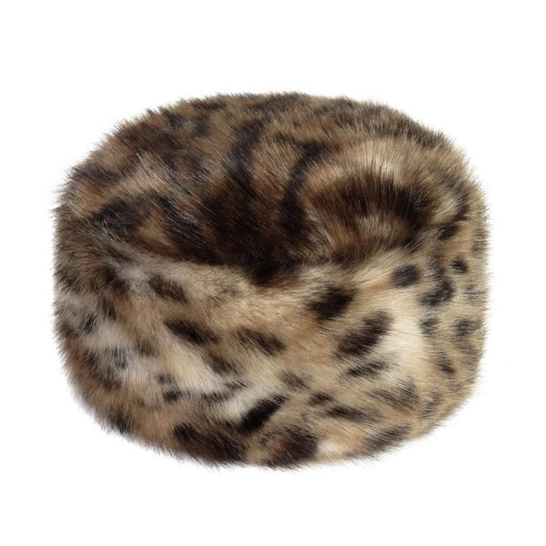 Ocelot Faux Fur Pillbox Hat
