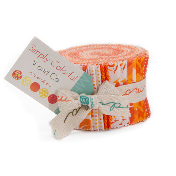 Simply Colorful Junior Jelly Roll by V and Co. for Moda Orange - Lady Belle Fabric