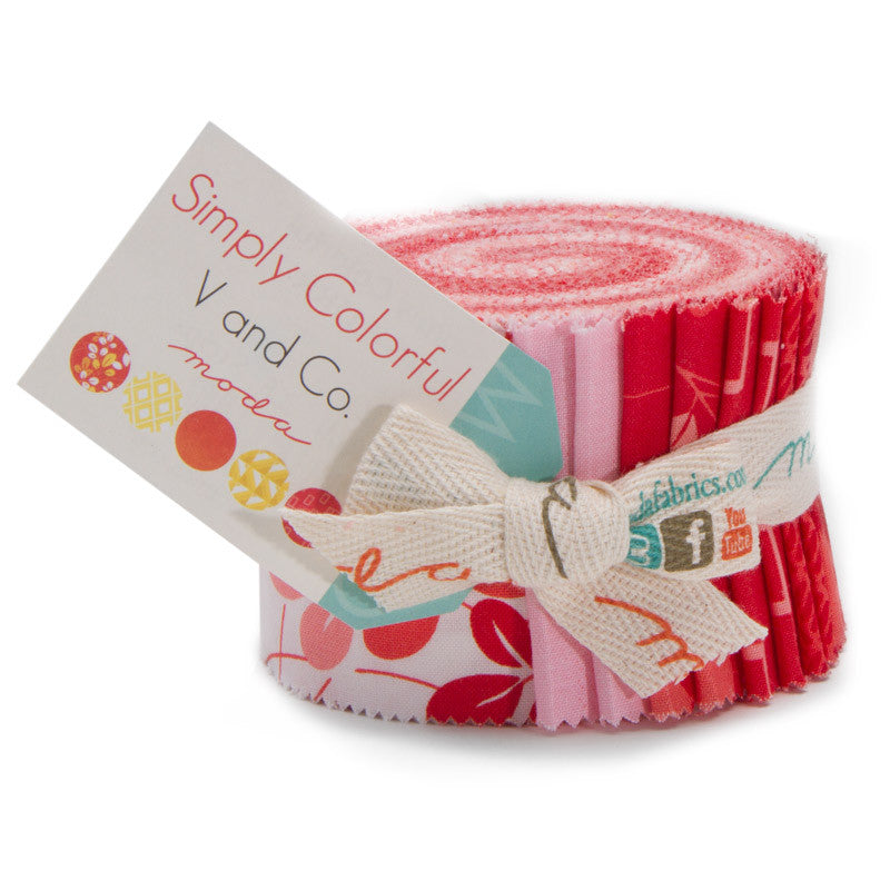 Simply Colorful Junior Jelly Roll by V and Co. for Moda Red - Lady Belle Fabric