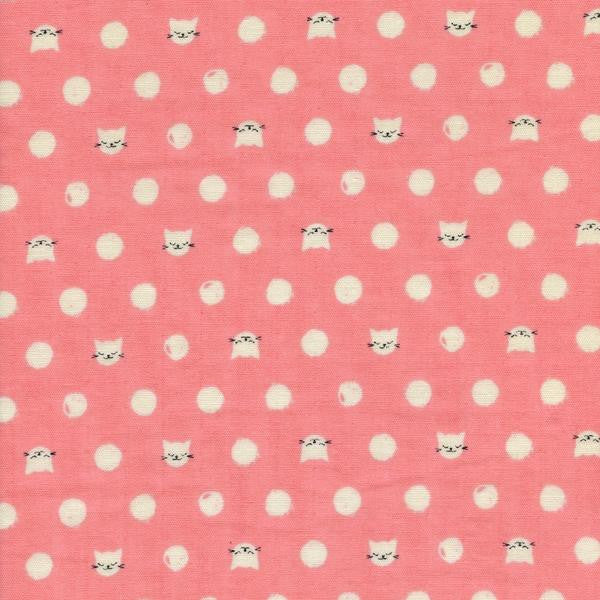 friskers pink double gauze, cat lady fabric