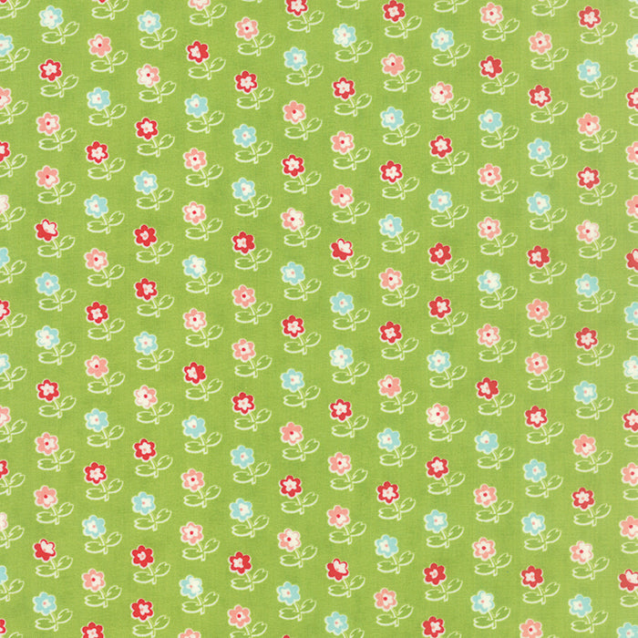 Vintage Picnic Green Flowers 55121-14 by Bonnie and Camille for Moda