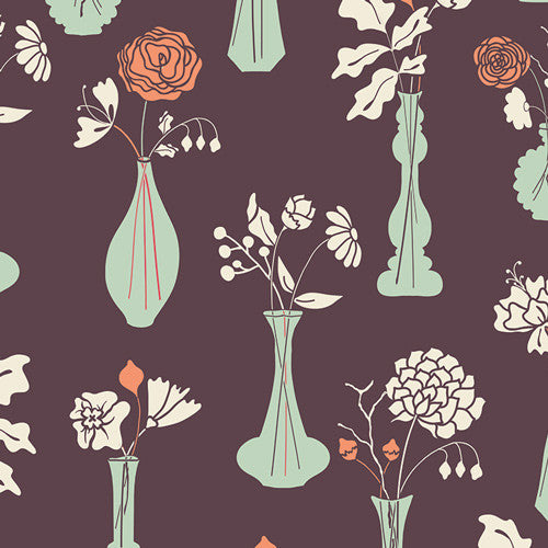 Cultivate by Bonnie Christine Vintage Vases Eggplant - Lady Belle Fabric