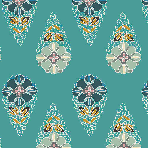 Fantasia by Sara Lawson for Art Gallery Fabrics Krokos Sprites Teal - Lady Belle Fabric