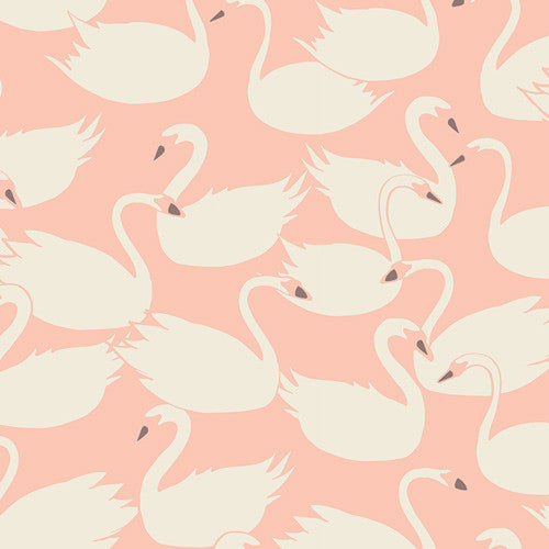 Hello Ollie Swanlings Bevy Peach Organic by Bonnie Christine for Art Gallery Fabrics