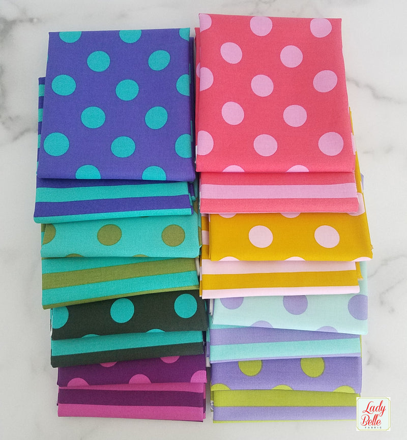 Monkey Wrench Pom Pom and Tent Stripes by Tula Pink for Free Spirit Fabrics Half Yard Bundle