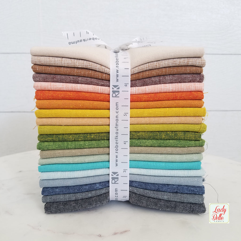 Adventure Essex Linen Basics by Elizabeth Hartman for Robert Kaufman Fat Quarter Bundle