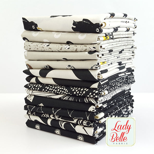 black and white bundle, cotton and steel fabric