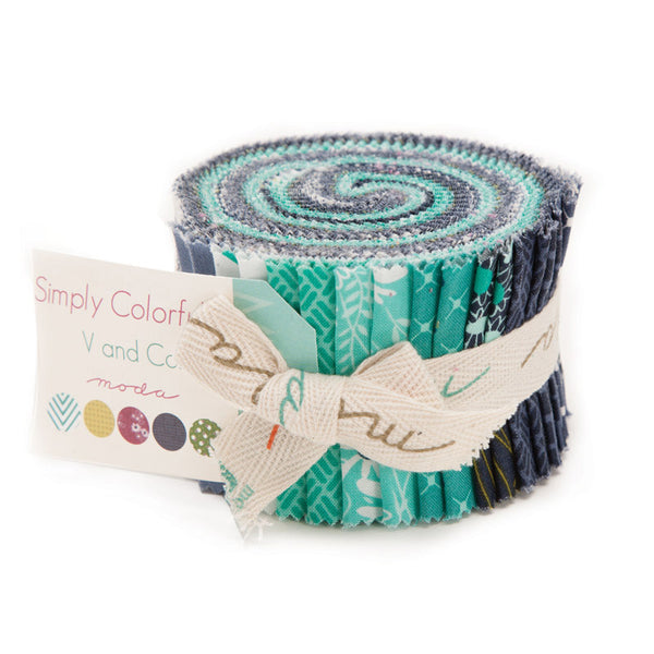 Simply Colorful II Junior Jelly Roll Blue by V and Co. for Moda