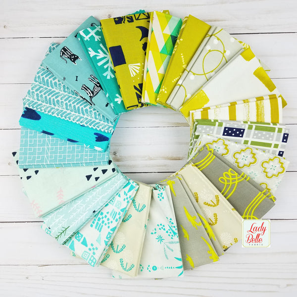 Cotton and Steel Mint and Green Collection Box - Fat Quarters