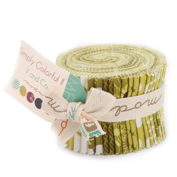 Simply Colorful II Green Junior Jelly Roll by V and Co. for Moda
