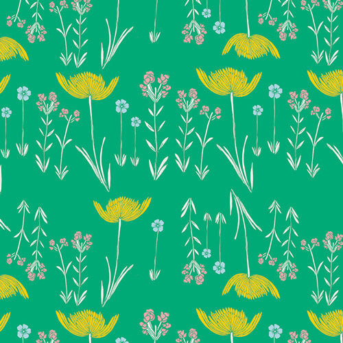 Meadow by Leah Duncan for Art Gallery Fabrics Savanna Glow Mint - Lady Belle Fabric