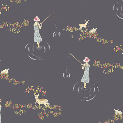 Emmy Grace by Bari J for Art Gallery Fabrics Fawn Day Murk - Lady Belle Fabric