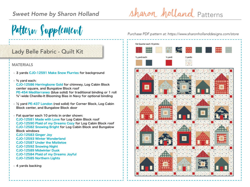 Cozy and Joyful Sweet Home Quilt Kit by Sharon Holland & Maureen Cracknell for Art Gallery Fabrics