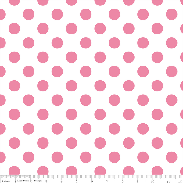 Medium Dots Hot Pink on Creme by Riley Blake Fabrics - Lady Belle Fabric