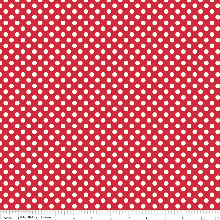 Small Cream Dot Color Red fabric