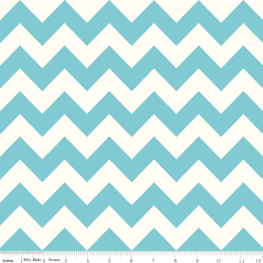 Aqua Medium Chevron On Cream Color by Riley Balke - Lady Belle Fabric