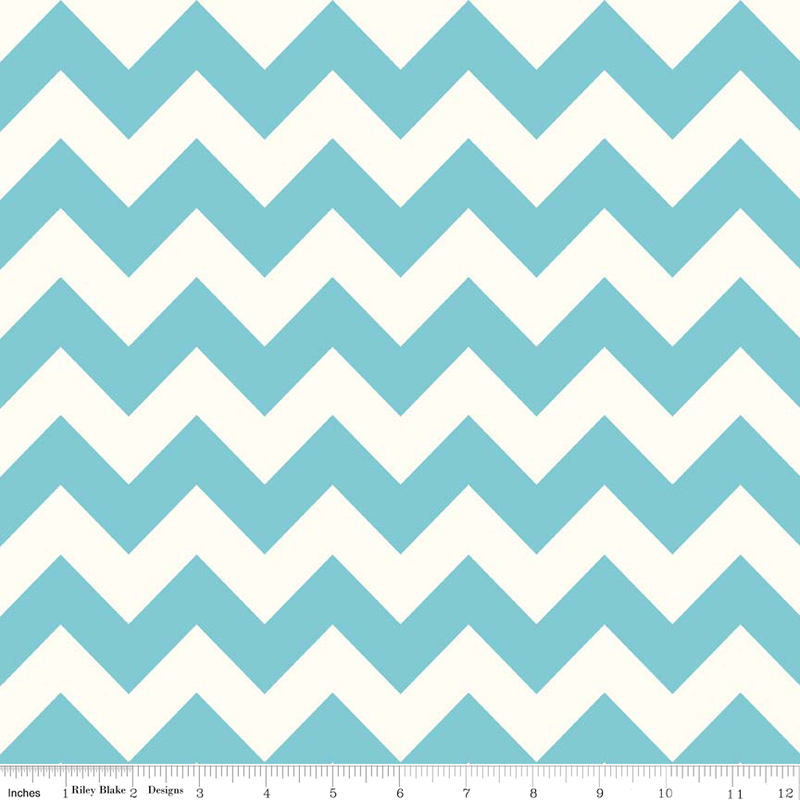 Red Medium Chevron on Cream by Riley Blake