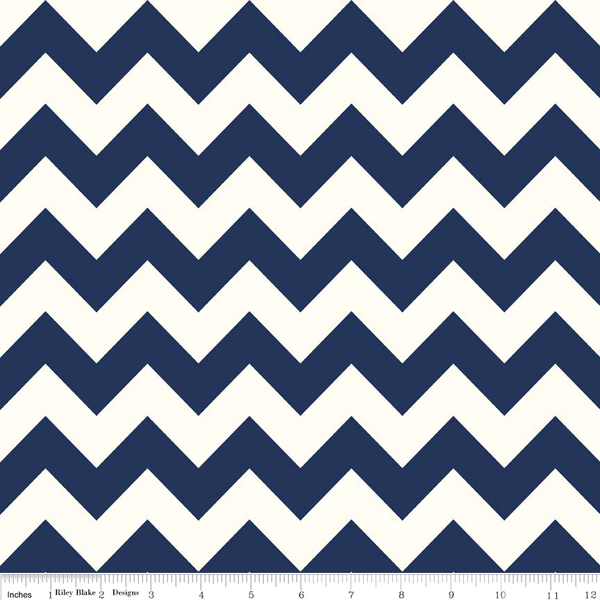Navy Medium Chevron on Cream by Riley Blake - Lady Belle Fabric