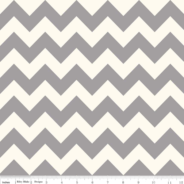 Gray Medium Chevron on White by Riley Blake fabric