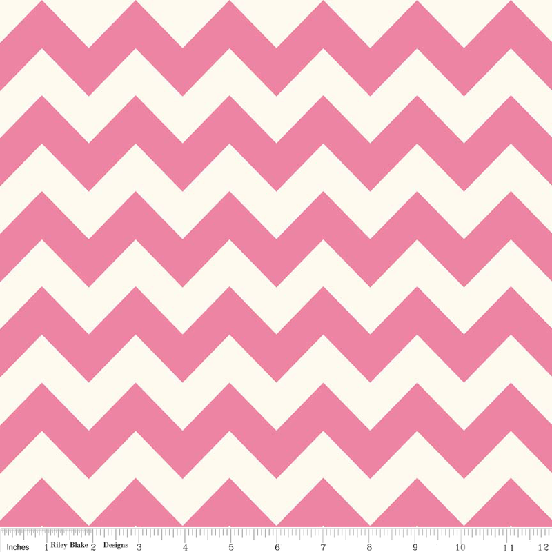 Hot Pink Medium Chevron on Cream by Riley Blake - Lady Belle Fabric