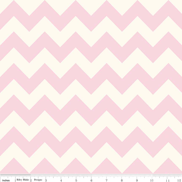 Baby Pink Medium Chevron on Creme by Riley Blake - Lady Belle Fabric