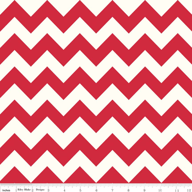 Red Medium Chevron on Cream by Riley Blake - Lady Belle Fabric
