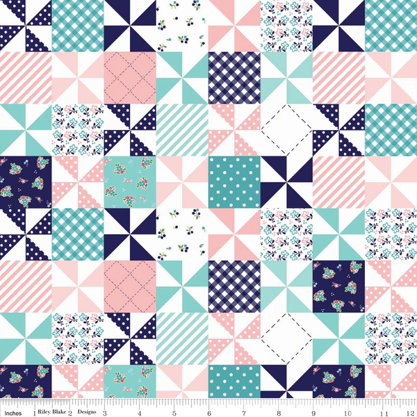 Country Girls Country Patchwork Pink by Tasha Noel for Riley Blake - Lady Belle Fabric