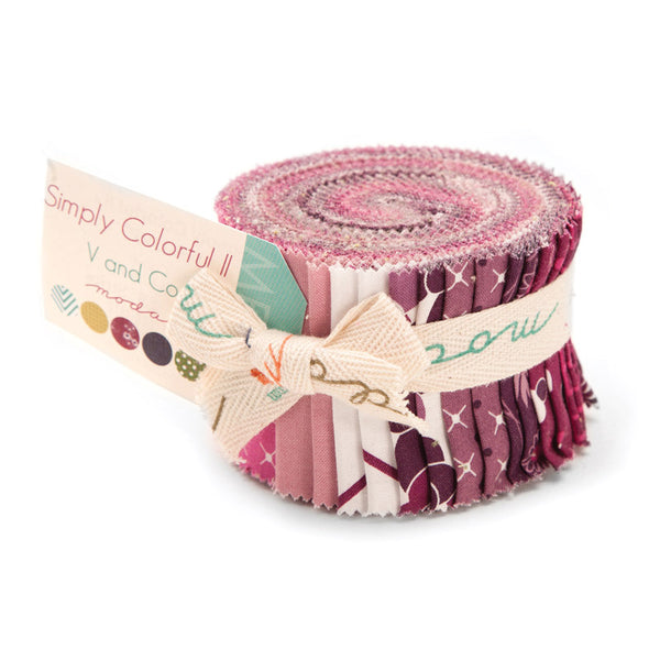Simply Colorful II Purple Junior Jelly Roll by V and Co. for Moda