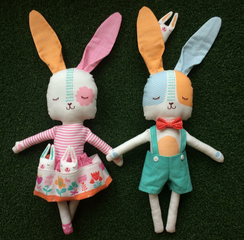 Spring Bunny Fun Doll Panel by Stacy Iest Hsu for Moda