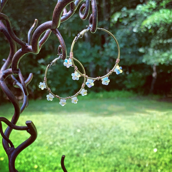 Crystal Star Flower Big Hoop Earrings Bronze Hoops