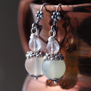 Green Chalcedony and Crystal Quartz Earrings